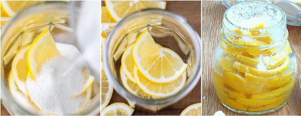 В стеклянной банке с плотной крышкой лимоны в сахаре хранятся до 6 месяцев