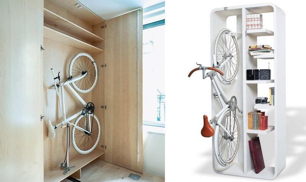 Чтобы велосипед не находился на виду, можно убрать его в шкаф