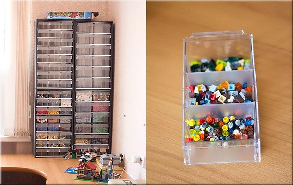 Есть стеллажи с пластиковыми контейнерами для мелких деталей, например, от конструктора