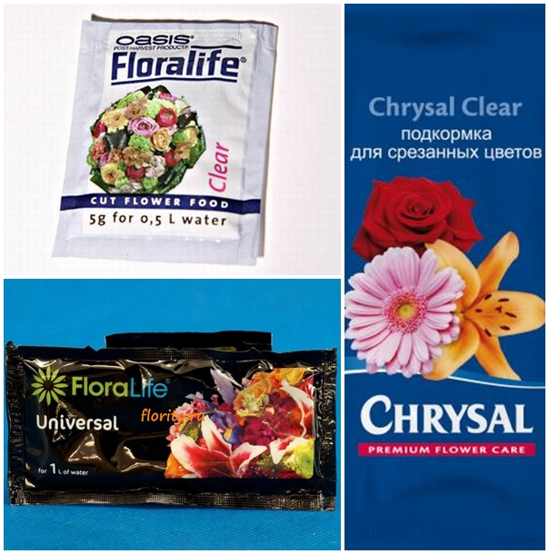 В цветочных магазинах применяют для срезанных роз химические добавки-подкормки. Чаще всего именно поэтому дома розы быстро вянут в обычной воде