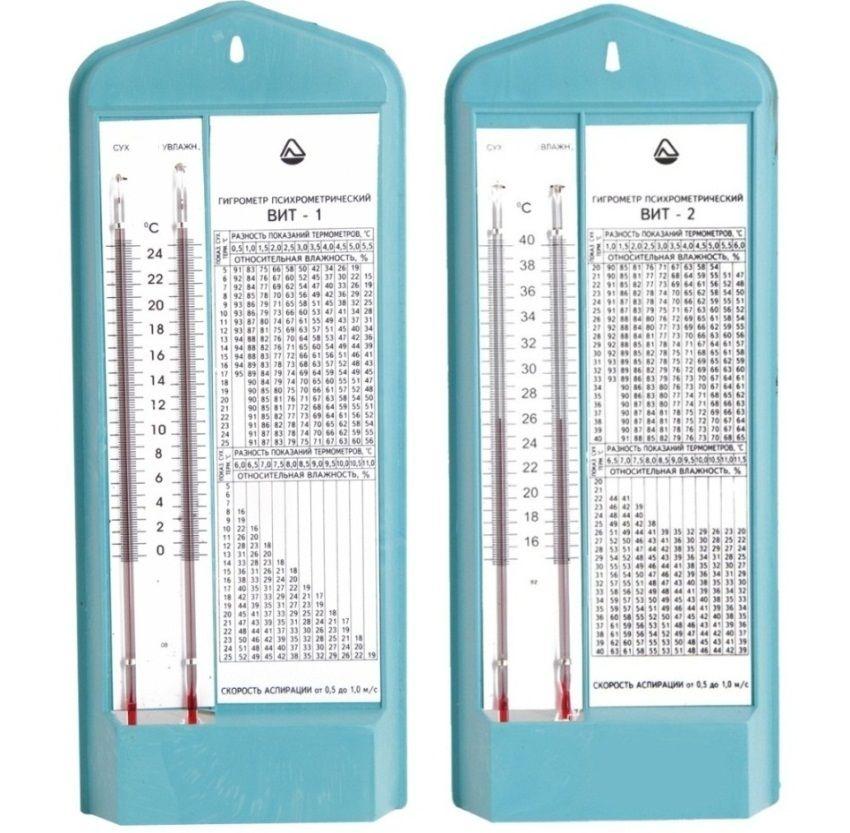 Комнатные гигрометры ВИТ-1 и ВИТ-2. Стоит около 400 рублей. Пользоваться ими не так удобно как электронными