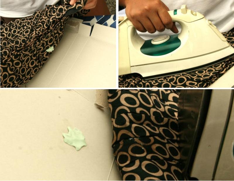 В результате размякшая от нагрева утюга резинка остаётся на картоне