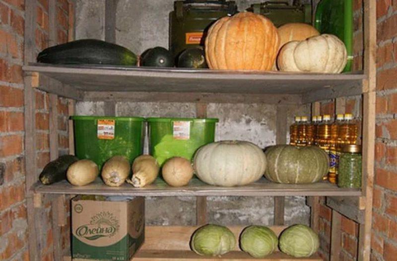 Как хранить кабачки — удобнее складировать их на деревянном сухом стеллаже, чтобы они были подальше друг от друга. Можно застелить полки соломой, она будет впитывать влагу, и овощи сохранятся дольше