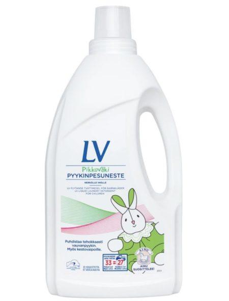 LV — жидкое концентрированное средство для стирки детской одежды. Гипоаллергенно. Без запаха. Цена — около 880 ₽