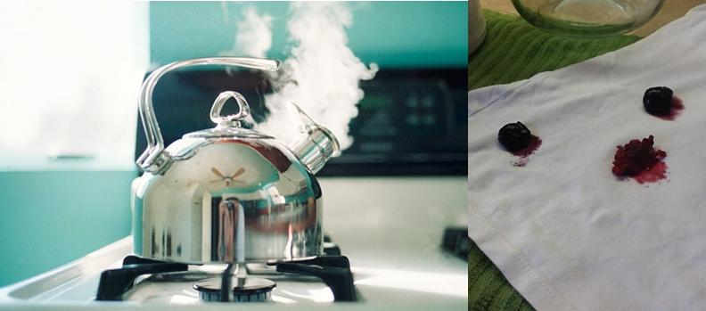 Кипяток нужно лить на свежее пятно тонкой струйкой, хорошо натянув ткань