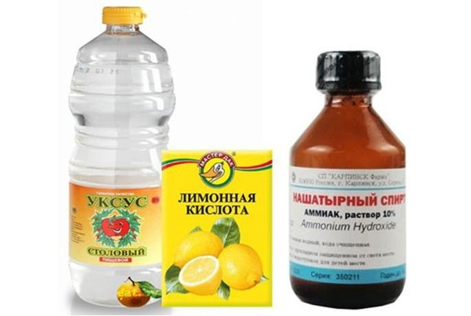 Нашатырный спирт, уксус и лимонная кислота вызывают обесцвечивание. Для тонких тканей не подходят.