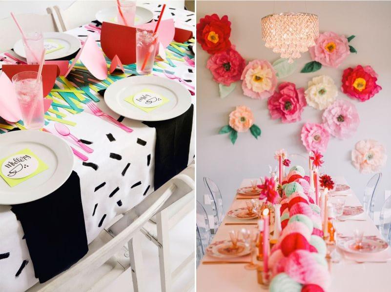 Для детского стола подойдут бумажные цветы