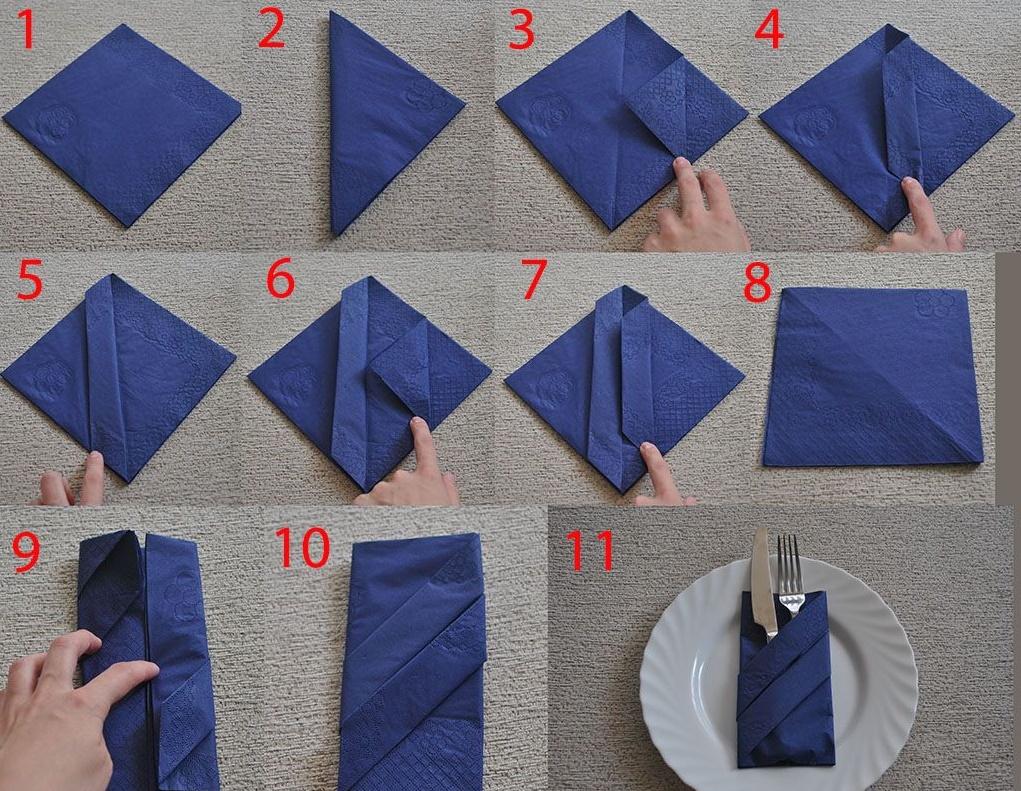 Как красиво сложить салфетки — один из моих любимых способов