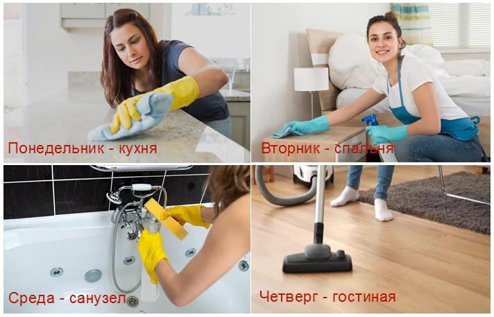 Если не успеваете убрать всю квартиру сразу, разделите уборку на несколько дней. Это — если вы не торопитесь.