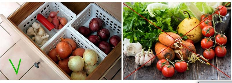 Чтобы сохранить овощи до весны, разные виды храните в отдельных контейнерах