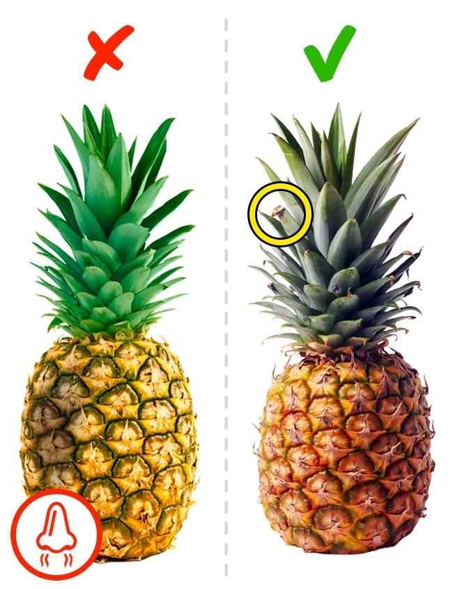 Справа — спелый плод, слева — недозревший ананас, он пролежит дольше.