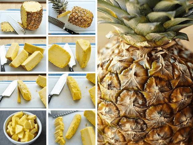 На фото пример, как очистить ананас в домашних условиях.