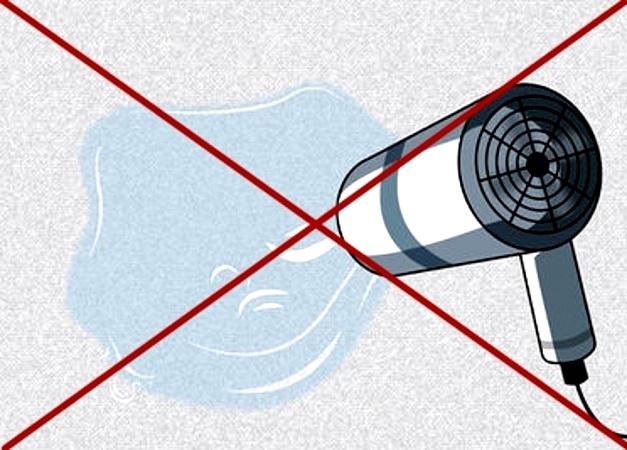 Сушить ковер феном нельзя, горячий воздух может его безвозвратно испортить