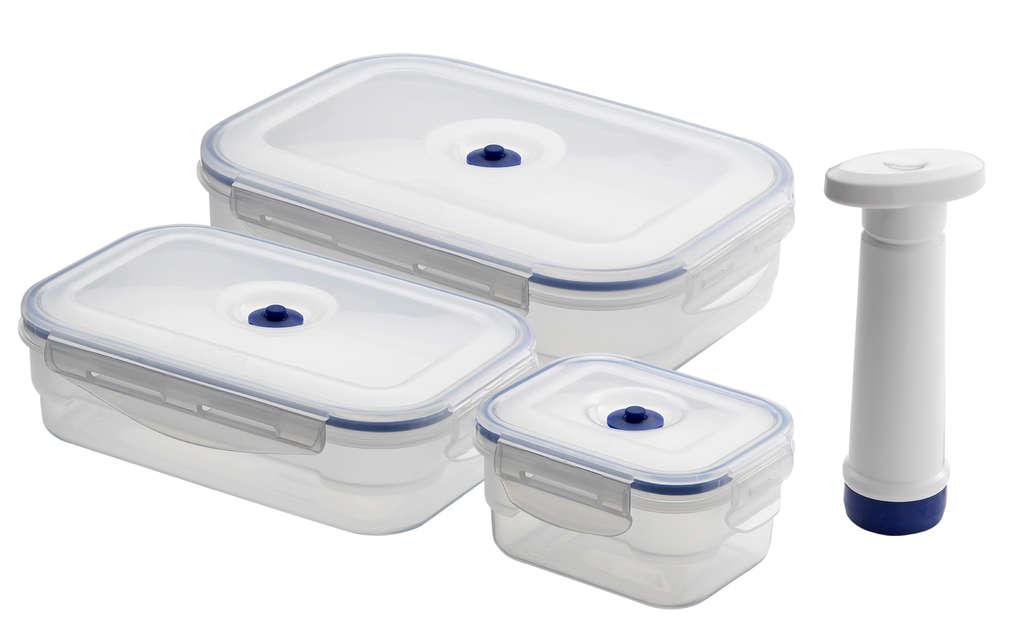 Вакуумные контейнеры бывают любых размеров и продаются в наборе с насосом
