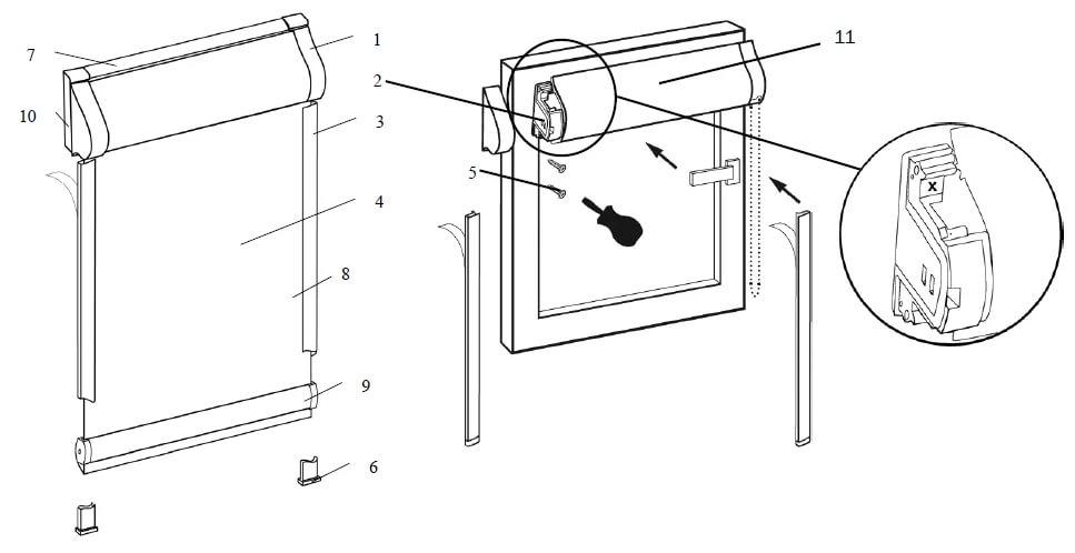 На изображении показано, как снять рулонные шторы с пакетной бобиной
