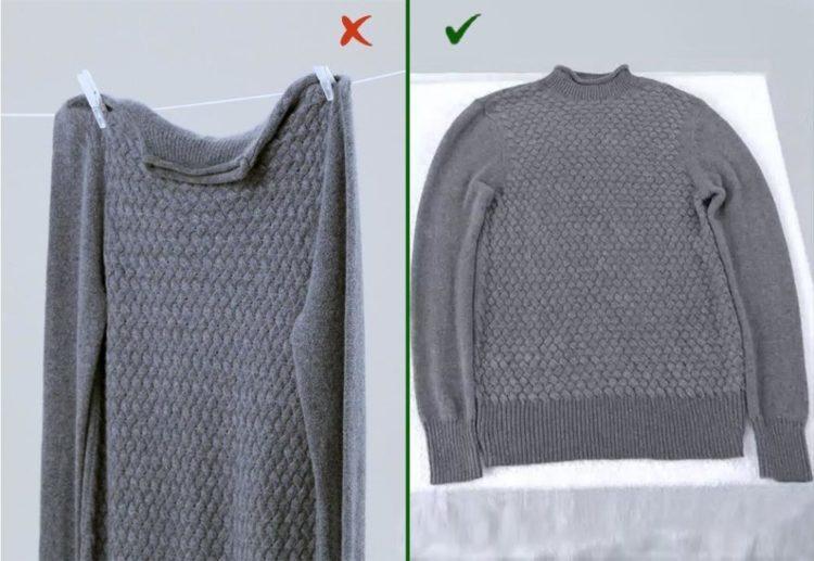 Сушить шерстяную одежду нужно в горизонтальном положении, чтобы не растянулась