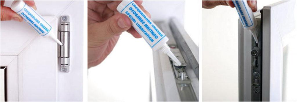 Для стабильной работы ПВХ окнам нужен уход. Раз в год смазывайте уплотнитель и петли. Очищайте рабочие детали от грязи, не допускайте попадания в водоотводы мусора и посторонних предметов