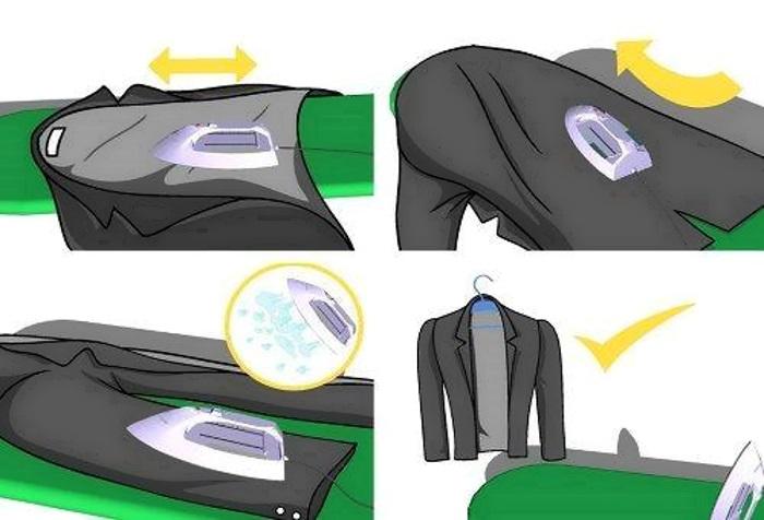 Гладить пиджак можно при самом минимальном нагреве утюга, затем сразу повесить на плечики