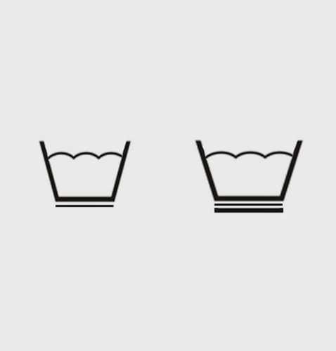 Если на ярлыке замшевой одежды стоит подчеркнутый значок тазика, то ее можно подвергать деликатной (щадящей, осторожной) стирке