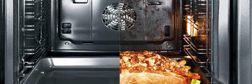 После приготовления достаточно только помыть дверцу и дно духовки.